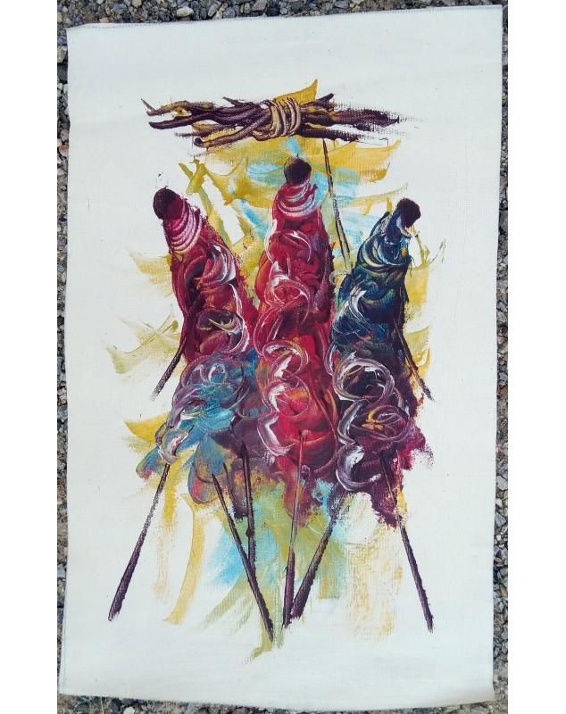 Obraz Masajové s otepí dřeva